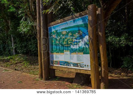 IGUAZU, BRAZIL - MAY 14, 2016: iguazus natural park map showing all the routes and places where you can go to see the waterfalls.
