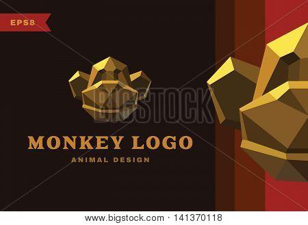 Vector logo. Golden Monkey. Polygon style icon