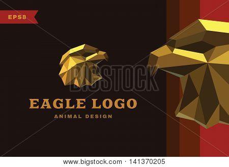 Vector logo. Golden Eagle Polygon style icon