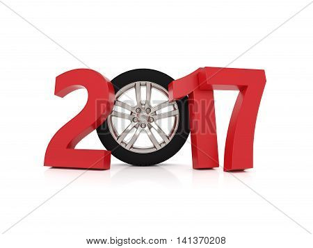 Wheel model with New Year 2017 3D Rendering Image