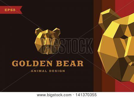 Vector logo. Golden Bear Polygon style icon