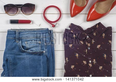 Women Clothing Set And Accessories, Shoes On Light Background.top View