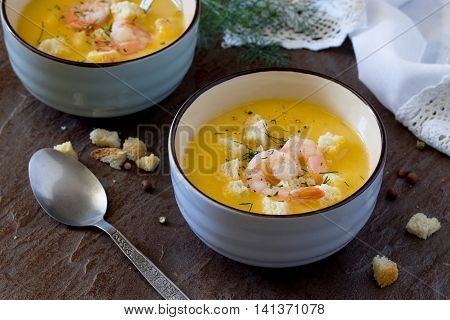 Mashed Vegetable Soup And Shrimp With Garlic And Green Dill On A Stone Background With Rusk. Diet, V