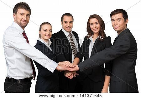 a group of professionals with hands together