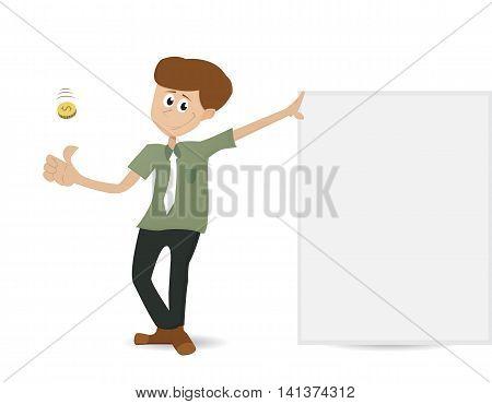 cartoon business man throwing coin standing beside empty banner