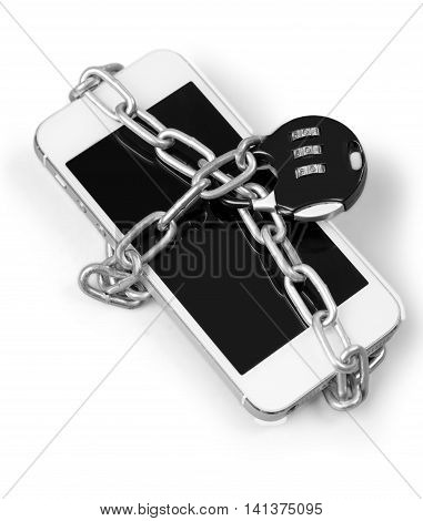 Smartphone under chain and lock - concept of phone security - isolated image