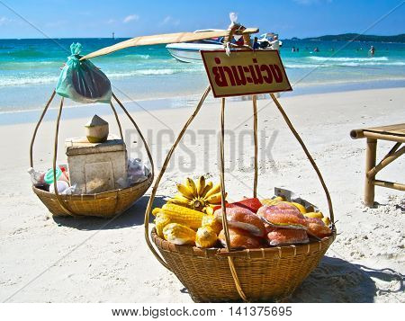food baskets on the beach, Thai food