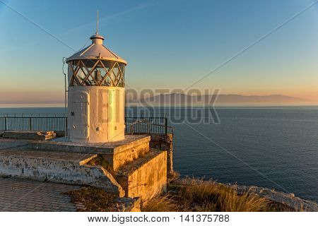 Sunset over Lighthouse in Kavala, East Macedonia and Thrace, Greece