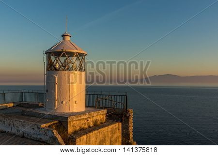 Amazing Sunset over Lighthouse in Kavala, East Macedonia and Thrace, Greece