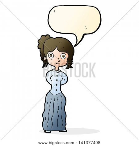 cartoon happy woman with speech bubble