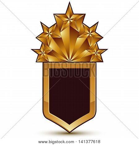 Vector glorious glossy design element with five luxury 3d pentagonal golden stars