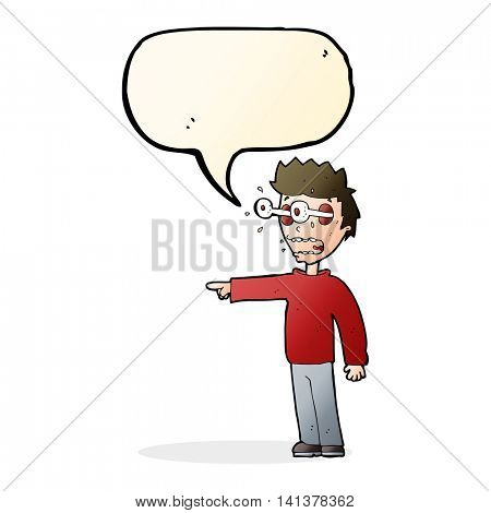 cartoon man with popping out eyes with speech bubble