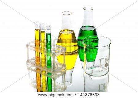 Flasks, Beaker and Test Tube with Liquid