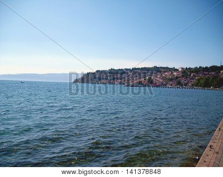 Lake Ohrid in Macedonia with the Old Town in the Background