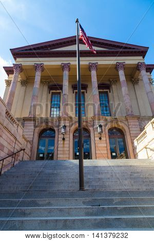 Lancaster PA - August 4 2016: The entrance to the old Lancaster County Courthouse in the City of Lancaster.