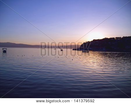 Lake Ohrid at Sunset Macedonia with the Old Town in shadow in the background