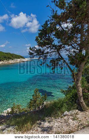 amazing panorama of Emblisi Fiskardo Beach, Kefalonia, Ionian islands, Greece