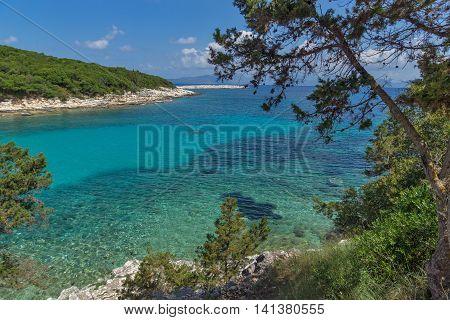 amazing seascape of Emblisi Fiskardo Beach, Kefalonia, Ionian islands, Greece