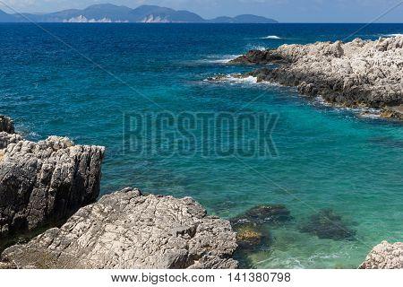 Panorama of Alaties Beach, Kefalonia, Ionian islands, Greece