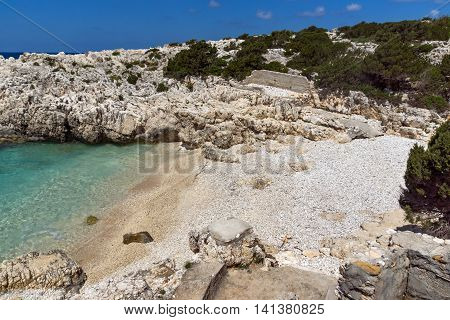 Panoramic view of Alaties Beach, Kefalonia, Ionian islands, Greece
