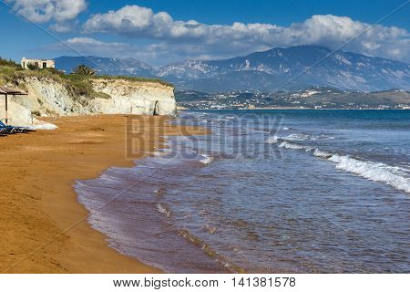 Panoramic view of Xi Beach,beach with red sand in Kefalonia, Ionian islands, Greece