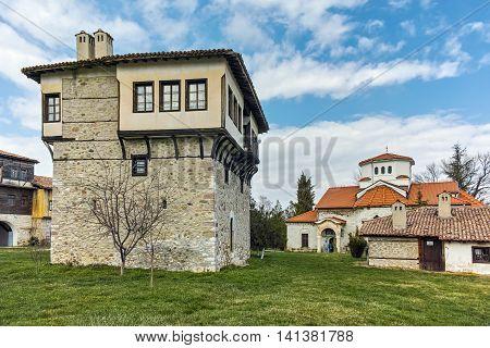 Panoramic view of Arapovo Monastery of Saint Nedelya and Tower of Angel Voivode, Plovdiv Region,  Bulgaria