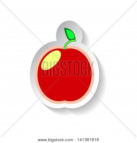 Apple vector illustration isolated on white background. Flat style fruit with shadow. Garden fruit Apple patch. Apple sticker style square image. Summer fruit harvest. Minimal style red Apple