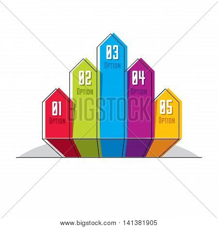 Infographics element vector layout of different color five banners composition of five ribbons visual presentation of options.
