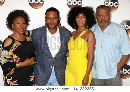 LOS ANGELES - AUG 4:  Jenifer Lewis, Anthony Anderson, Tracee Ellis Ross, Laurence Fishburne at the ABC TCA Summer 2016 Party at the Beverly Hilton Hotel on August 4, 2016 in Beverly Hills, CA