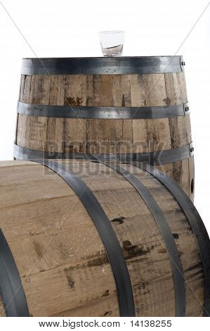 Whiskey Glass On Barrel Vertical