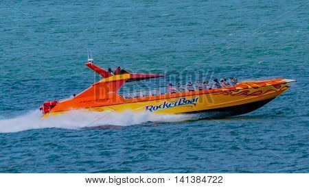 San Francisco, CA, USA - May 21, 2016:  Tourist attraction and thrill ride on the San Francisco Bay, Rocket Boat propels riders at 60 miles per hour.