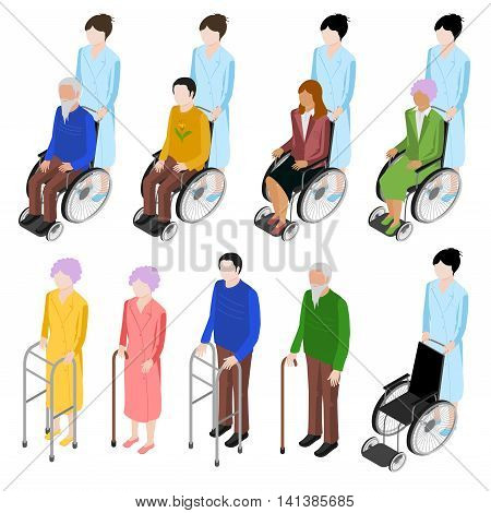 Set of people in a wheelchair in an isometric view. An old man with stilts for the disabled. The old woman with a cane. It can be used as icons.