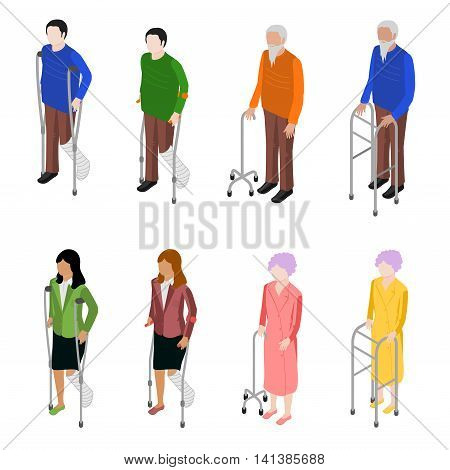 Set of people with crutches. There are a woman and man with plaster on crutches.