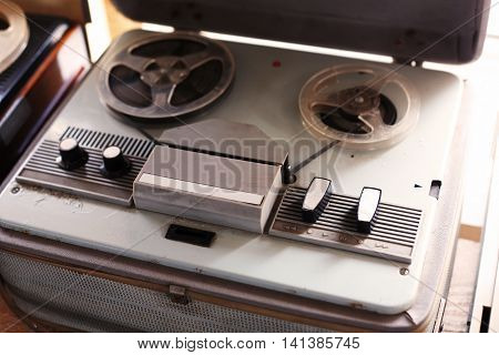 Soviet Vintage - Old bobbin tape recorders with a retro toning.