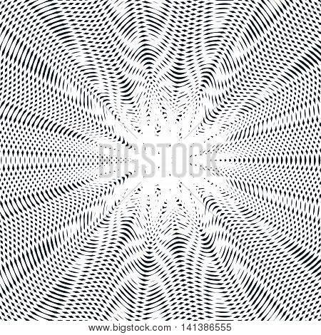 Decorative lined hypnotic contrast background. Optical illusion creative black and white graphic moire backdrop.
