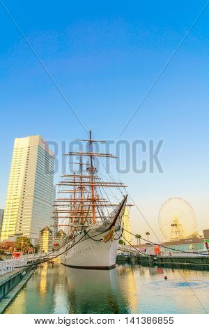 YOKOHAMA, JAPAN - November 24: Nippon Maru in Yokohama, Japan on November 24, 2015. Nippon Maru was a training ship for the cadets of the Japanese merchant marine. She was built in 1930.