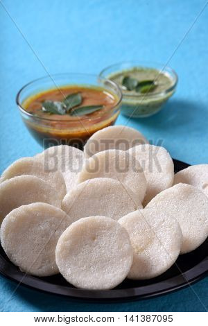 Idli With Sambar And Coconut Chutney On Blue Background, Indian Dish : South Indian Favourite Food R