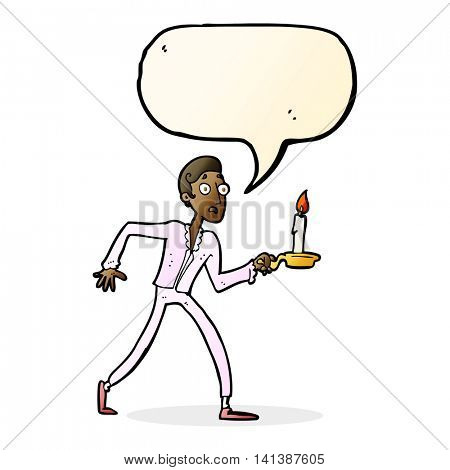 cartoon frightened man walking with candlestick with speech bubble