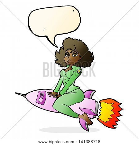 cartoon army pin up girl riding missile with speech bubble