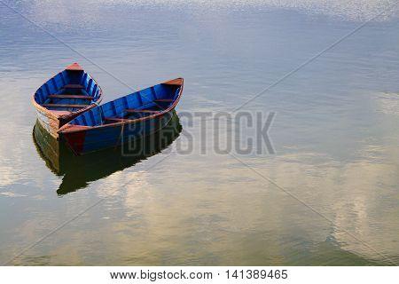 Boat on Phewa Lake in Pokhara , Nepal