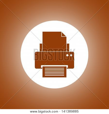 Print Icon. Flat Design Style