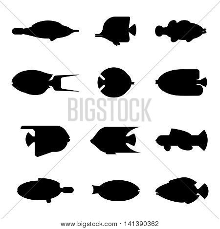 Tropical fish silhouette collection on white background. Vector flat illustration sea fish icon silhouette style. Design various aquarium fish silhouette set isolated