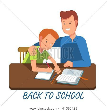 Kid learning lessons with dad. Vector illustration of a child wrote in a school notebook lessons. Flat illustration concept back school