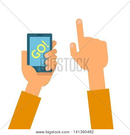 Vector flat illustration of set phones in the hands. Concept of design playing video game pokemom go