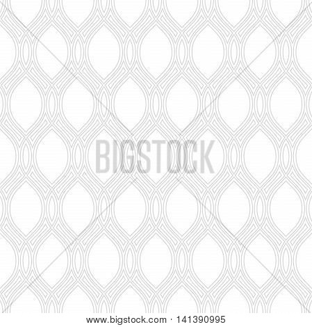 Seamless vector ornament. Modern geometric pattern with repeating ligt silver wavy lines