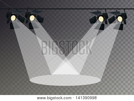 Realistic Transparent Background Spotlights. Light Effect. Scene Studio Show. Isolated Vector Illustration.