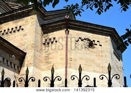 EVPATORIA RUSSIA - JULY 15 2016: Holy Elias Church trace of shell got into it during the second world war