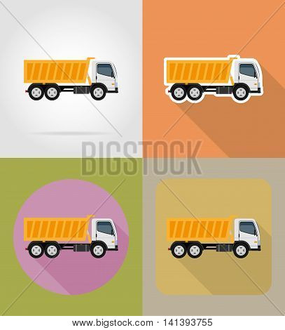tipper truck for construction flat icons vector illustration isolated on background