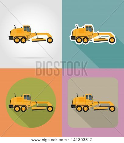 grader for road works flat icons vector illustration isolated on background