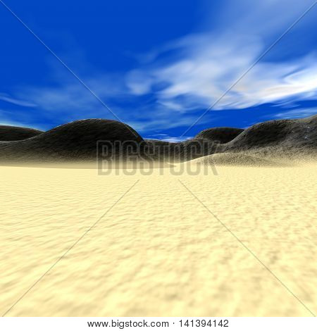 Abstract landscape with hills and sand, 3D render